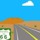 Illustration of Route 66 and Sign, Nevada, United States of America Photographic Print by Michael Kelly
