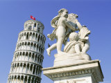 Statue in Front of the Leaning Tower of Pisa, Campo Dei Miracoli, Pisa, Tuscany, Italy Photographic Print by Bruno Morandi
