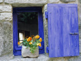 Close-Up of Blue Shutter, Window and Yellow Pansies, Villefranche Sur Mer, Provence, France Photographic Print by Bruno Morandi