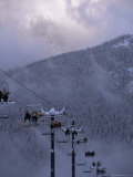 Chair Lift Filled with Skiers and Snowboarders, Washington State, USA Photographic Print by Aaron McCoy
