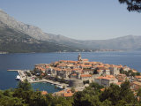 Hilltop View of Red Tile Rooftops of Medieval Old Town and Bay, Croatia, Adriatic Photographic Print by Chris Kober