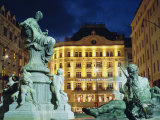 Statues at Fountain and Pension Neuer Markt at Neuer Markt Square, Innere Stadt, Vienna, Austria Photographic Print by Richard Nebesky