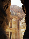 The Siq and Facade of the Treasury, Nabatean Archeological Site, Petra, Jordan, Middle East Photographic Print by Sylvain Grandadam