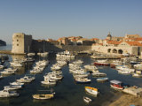 Old Town Waterfront Harbour Area and City Walls, Dubrovnik, Croatia, Adriatic Photographic Print by Chris Kober