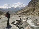 Trekker Enjoys the View on the Annapurna Circuit Trek, Jomsom, Himalayas, Nepal Photographic Print by Don Smith