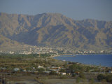 The Red Sea Port of Aqaba and Highlands Beyond, Jordan, Middle East Photographic Print by Robert Francis