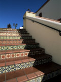 Tile Stairs in Shopping Center, Santa Barbara, California Photographic Print by Aaron McCoy