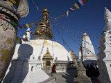 Monk Walks Clockwise Around the Buddhist Stupa Called Swayambhu or Swayambhunath, Kathmandu, Nepal Photographic Print by Don Smith