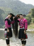 Young Women of Yao Minority Tribe, Huanglo Yao Village, Longsheng Terraced Ricefields, China Photographic Print by Angelo Cavalli
