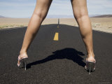 Woman in High Heels on Empty Road, Death Valley National Park, California Photographic Print by Angelo Cavalli