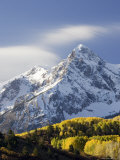 Snow Capped Mountain and Fall Colors, Dallas Divide, Colorado Photographic Print by James Hager