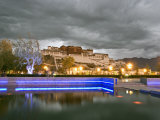 Water Feature in Front of the Potala Square Lit up with Neon Blue Lights in Early Evening, China Photographic Print by Don Smith