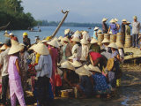 Women in Conical Hats at the Fish Market by the Thu Bon River in Hoi An, Indochina Photographic Print by Robert Francis