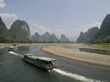 Cruise Boats on Li River, Between Guilin and Yangshuo, Li River, Guangxi Province, China Photographic Print by Angelo Cavalli