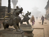 Durbar Square, Nepal. Guardian Lions on the Steps of a Temple. Foggy Winter Morning November 2005. Photographic Print by Don Smith