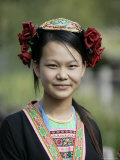 Young Woman of Yao Minority Mountain Tribe in Traditional Costume, Guangxi Province, China Photographic Print by Angelo Cavalli