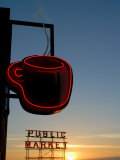 Neon Sign for Coffee, Post Alley, Seattle, Washington State, USA Photographic Print by Aaron McCoy