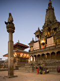 Durbar Square at Dawn with Garuda Statue on Column, Unesco World Heritage Site, Nepal Photographic Print by Don Smith