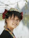 Young Woman of Yao Minority Mountain Tribe, Li River, Yangshuo, Guangxi Province, China Photographic Print by Angelo Cavalli