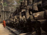 Buddhist Monk Approaching South Gate, Angkor Thom, Angkor, Cambodia, Indochina Photographic Print by Andrew Mcconnell