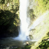 Man Takes a Bath in Waterfall, Los Chorros Falls, Poas Valley, Costa Rica, Central America Photographic Print by Aaron McCoy