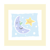 Cheerful Moon and Star Posters