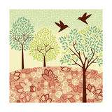 Hazy Day Hummingbirds Poster