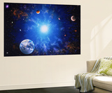 Illustration of Earth and Glowing Star Premium Wall Mural by Ron Russell