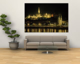 View of Budapest, Hungary at Night Wall Mural by Ron Rocz