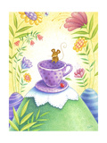 Mouse Hanging out on a Purple Teacup in a Wild Flower Forest Prints