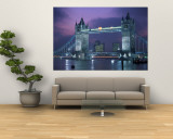 Tower Bridge at Night, London, UK Mural por Peter Adams