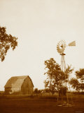 Country Days - Sepia Windmill and Barn Print