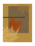 Leaf Abstract Ochre Poster