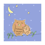 Hug for Baby Owl Poster