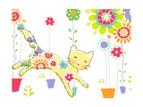 Miss Kitty Enjoys Flowers Prints