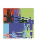 Brooklyn-broen, ca. 1983 (Orange, blå, limegrøn), Brooklyn Bridge, c.1983 (Orange, Blue, Lime) Posters af Andy Warhol