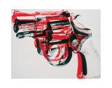 Revolver, ca.1981-1982 (zwart en rood op wit) Print van Andy Warhol