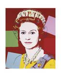 Regerande drottningar, Queen Elizabeth II av Storbritannien, ca 1985, mörk kontur Affischer av Andy Warhol