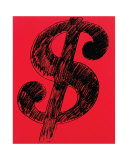 Dollar Sign, c.1981 (black on red) Kunstdrucke von Andy Warhol