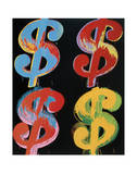 Four Dollar Signs, c.1982 (blue, red, orange, yellow) Pósters por Andy Warhol