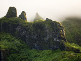 Clouds Around the Rugged Volcanic Peaks of Moorea, French Polynesia Photographic Print by Tim Laman