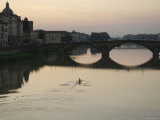 Arno River and Rower, Florence, Italy Photographic Print