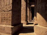 Columns with Reliefs at Karnak Temple in Luxor, Egypt Fotografie-Druck von Richard Nowitz