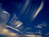 Cirrus Clouds against a Deep Blue Evening Sky, Groton, Connecticut Photographic Print by Todd Gipstein