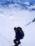 Climber on the Descent of the Headwall on Denali's West Butrress, Alaska Photographic Print by Bill Hatcher
