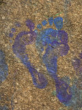 Child's Footprints on Concrete Have Been Made with Paint Photographic Print by Stephen Alvarez