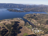 Aerial of Full Lake Casitas Reservoir and Campground, California Photographic Print by Rich Reid