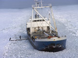 Cargo Ship through Thick Ice in the Gulf of Bothnia, Baltic Sea Photographic Print by  Brimberg & Coulson