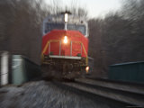 Close View of a Locomotive Rushing into the Zoom Lens, Silver Spring, Maryland Photographic Print by Stephen St. John
