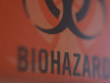 Biohazard Disposal Box in a Hospital Room, Boston, Massachusetts Photographic Print by Heather Perry